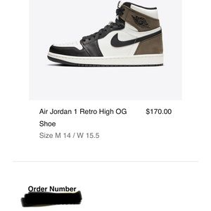 NWT air Jordan 1 retro OG black mocha
